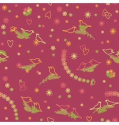 Seamless pattern with bird pairs vector image