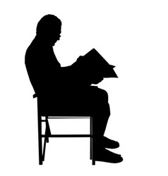 Senior man reading newspapers on chair vector