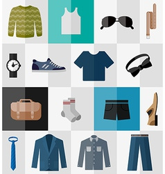 Set of flat men clothes and accessories icons vector image