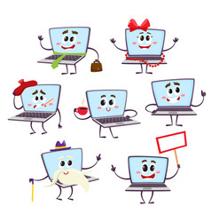 set of funny cartoon laptop computer characters vector image