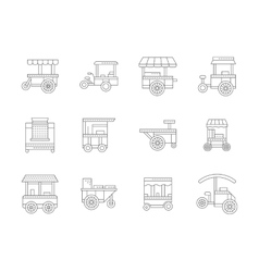 Set of linear food trolley icons vector