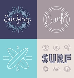 set surfing logo design templates vector image
