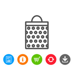 Shopping bag with circles line icon vector