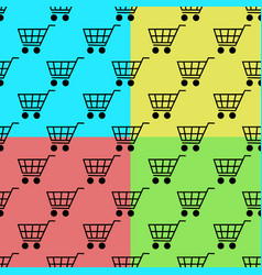shopping cart seamless pattern set isolated on vector image