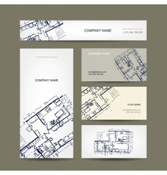 Sketch of apartment Business cards for your design vector
