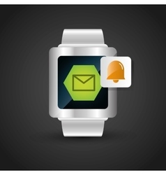 Smart watch wearable technology email bell alarm vector