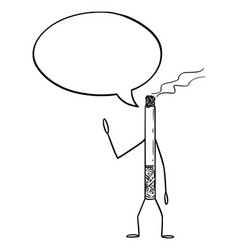 Smoking cigarette cartoon character with speech vector