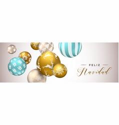 spanish christmas web banner gold ornaments vector image