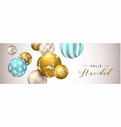 spanish christmas web banner of gold ornaments vector image