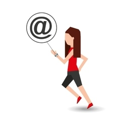 Sport girl running with smart watch mail icon vector