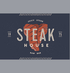 Steak logo meat label logo with steak vector