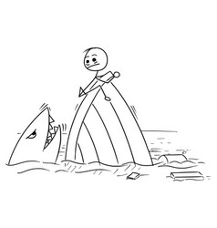 stick man cartoon of man holding on the shipwreck vector image