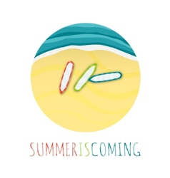 Summer is Comming Round with Beach Tide and vector