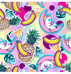 Summer seamless pattern with unicorn and pineapple vector