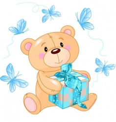 teddy bear with blue gift vector image