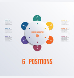 template flower colorful infographics 6 positions vector image