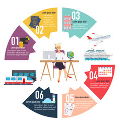 Travel concept infographic woman sitting at the vector