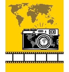 Travel set of camera map and camera roll vector image