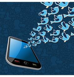 Twitter birds splash out smartphone application vector