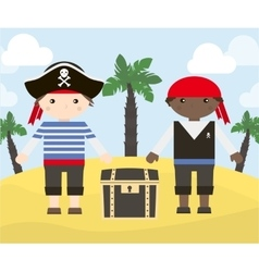 two cartoon characters pirates vector image