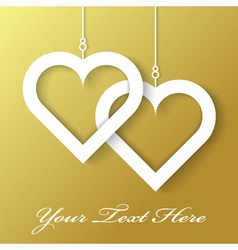 Two Hearts applique on gold background vector image