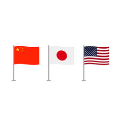 usa japan and china flags vector image