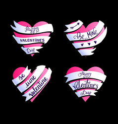valentines hearts lettering 10 vector image