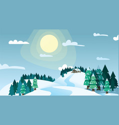Winter landscape house on snowy highlands in vector