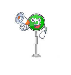 with megaphone turn left isolated with cartoon vector image