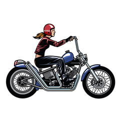 Women riding chopper motorcycle vector