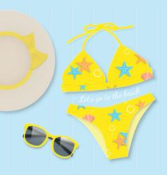 Yellow bikini with sunglasses summer concept vector