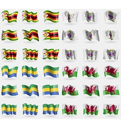 Zimbabwe Saint Barthelemy Gabon Wales Set of 36 vector