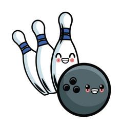 bowling ball and pins kawaii cute cartoon vector image