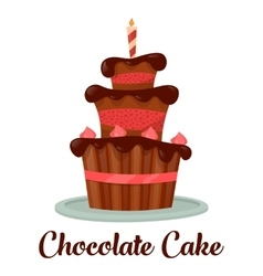 Celebration dessert cake with candle vector