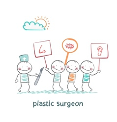 plastic surgeon looks at people with placards vector image