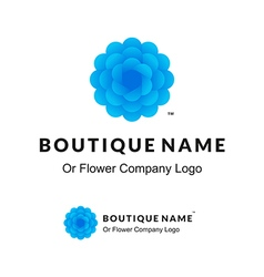 Beautiful logo with blue flower for boutique or vector