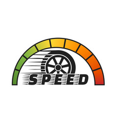 car wheel with speedometer vector image