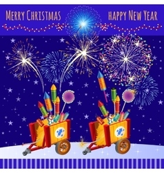 Fireworks in honor of the christmas and new year vector