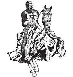 knight of templar black white vector image