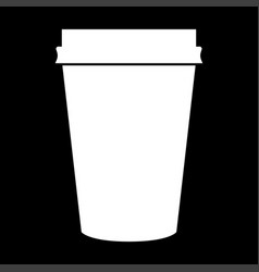 Paper coffee cup white color icon vector