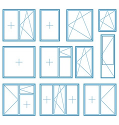 Set of plastic window frame symbol vector