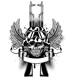 Skull in helmet and two Kalashnikov guns vector image