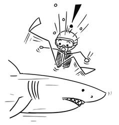 stick man cartoon of scuba diver meet large shark vector image