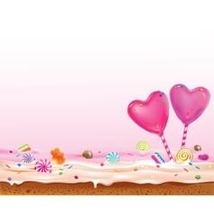 Sweet hearts lollipops vector image