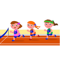 young girl runner competition vector image vector image