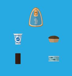 flat icon food set of tart yogurt tin tuna and vector image vector image