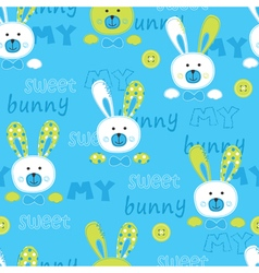 Seanless pattern with cute bunny vector image vector image