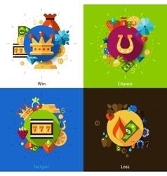 Slot machine concept icons set vector image