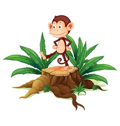 A monkey above a trunk vector image vector image