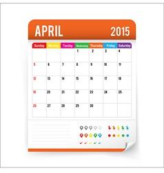 Calendar 2015 April vector image